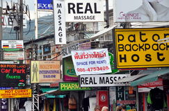 Phuket, Thailand: Jumble of Shop Signs Royalty Free Stock Photography