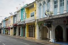 PHUKET, THAILAND - JUNE 14, 2018 : Chino-Portuguese style building in Thalang road, phuket, Thailand. royalty free stock image