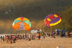 Phuket,Thailand - June 17,2017:Colorful parasails showing on tro Royalty Free Stock Photography