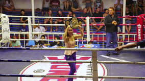 PHUKET,THAILAND - JUNE 2014: Muay Thai box matches. Night time,boxing stadium stock video