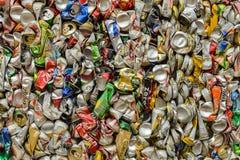PHUKET, THAILAND JUNE 28 , 2015:Recycled aluminum beverage cans royalty free stock photo