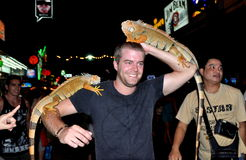 Phuket, Thailand: Man Posing with Lizards Royalty Free Stock Image
