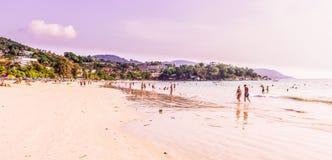 Panorama view of `Kata Noi` beach, Phuket, Thailand. Phuket, Thailand - Mar 15, 2018 : Panorama view of `Kata Noi` beach, Phuket, Thailand. It is one of the Stock Images