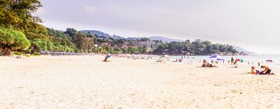 Phuket, Thailand - Mar 15, 2018 : Panorama view of `Kata Noi` beach, Phuket, Thailand. It is one of the most beautiful and very peaceful beaches in Phuket Royalty Free Stock Images