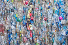PHUKET, THAILAND - MARCH 3 : Crushed plastic bottles at a recycl Royalty Free Stock Images