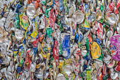 PHUKET, THAILAND - MARCH 3 : Crushed soda and beer cans at a rec Stock Photos