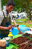 Thai man selling fried insects at market Royalty Free Stock Photos