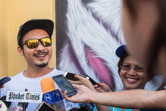 Phuket, Thailand - May 9, 2016: Artist Alex Face giving interview about remove his mural artwork Stock Images