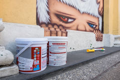 Phuket, Thailand - May 9, 2016: A mural artwork of an iconic character 'Mardi' by Alex Face was prepare to remove Stock Photography