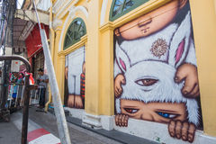 Phuket, Thailand - May 7, 2016: A mural artwork of an iconic character 'Mardi' Stock Photography
