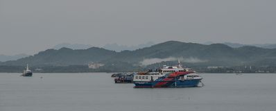 Passenger ferry on the sea in Phuket stock images