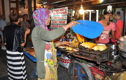 Phuket, Thailand: Musliim Woman Cooking Corn Stock Photography