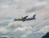 ATR 72-600 flies in the sky. PHUKET, THAILAND - NOVEMBER 27, 2016: Bangkok Airways ATR 72-600, HS-PZC flies in the sky stock image