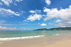 Phuket Thailand , November22 ,2014   Many tourists at  Patong beach that is the most famous place Royalty Free Stock Photo