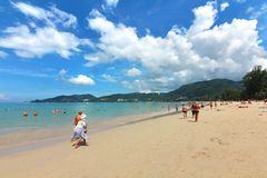 Phuket Thailand , November22 ,2014   Many tourists at  Patong beach that is the most famous place Stock Photography