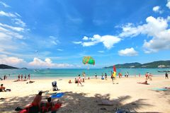 Phuket Thailand , November22 ,2014   Many tourists at  Patong beach that is the most famous place Stock Photos