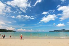 Phuket Thailand , November22 ,2014   Many tourists at  Patong beach that is the most famous place Royalty Free Stock Images