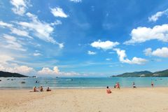 Phuket Thailand , November22 ,2014   Many tourists at  Patong beach that is the most famous place Stock Photo