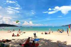 Phuket Thailand , November22 ,2014   Many tourists at  Patong beach that is the most famous place Royalty Free Stock Image