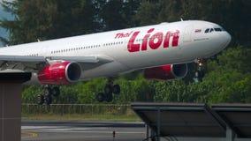 Airbus A330 landing. Phuket, Thailand - November 29, 2018: Thai Lion Airbus 330 approaching and landing, International Phuket Airport stock footage