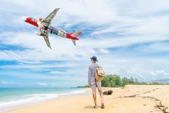 PHUKET, Thailand - October 23, 2017 : Air Asia airplane flying t Stock Photo