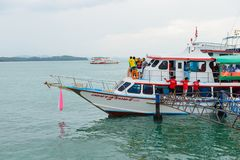 Phuket, Thailand - October 7, 2014 : Big wooden ferry boat with passengers to transport tourists from Phuket to Koh Hong Phang Ng Royalty Free Stock Photos