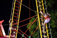 Climb the ladder knife in Phuket Vegetarian Festival. stock image