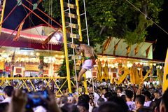 Climb the ladder knife in Phuket Vegetarian Festival. royalty free stock photos