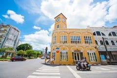 Phuket Thailand - Oktober 12, 2017: Byggnad med nolla för klockatorn Royaltyfri Foto