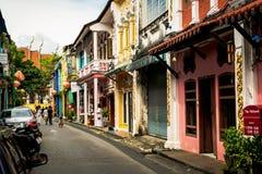 PHUKET, THAILAND - Oktober 8, 2018: Phuket oude stad met Chino- stock foto