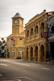 PHUKET THAILAND - Oktober 8, 2018: Renoverad Chino-portugis royaltyfri bild