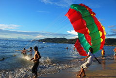 Phuket, Thailand: Paraglider Take-Off Royalty Free Stock Photos