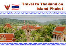 Phuket, Thailand postcard. Phuket Island, Thailand village illustrated on postcard or photo book with text Travel to Thailand on Phuket Island with Thai flag and Stock Images
