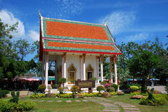 Phuket, Thailand: Rev. Abbot Temple. The Reverend Father Abbot temple is a little jewel at Wat Chalong with its colourful orange and green roof. gilded chofah Stock Photo