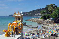 Phuket, Thailand: Shrine & Patong Beach Royalty Free Stock Photos