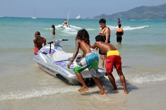 Phuket, Thailand: Thai Beachboys and Jetski Boat Royalty Free Stock Image