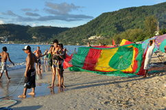 Phuket, Thailand: Tourist Prepares for Parasailing Stock Image