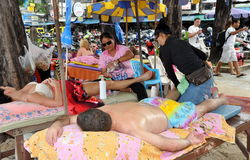 Phuket, Thailand: Tourists Getting Massage Royalty Free Stock Photos
