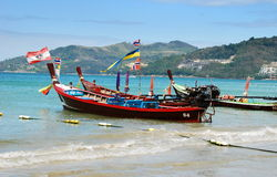Phuket, Thailand: Two Thai Longboats Royalty Free Stock Photography