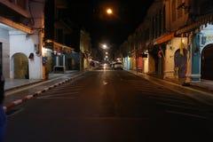 Background. Phuket town street at night royalty free stock photo