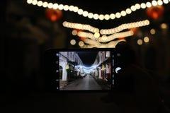 Light. Phuket town street at night royalty free stock images