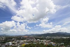 Phuket town in Thialand top view. On cloudy blue sky Stock Images