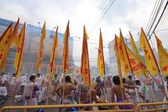 Phuket Vegetarian Festival. PHUKET, THAILAND - OCTOBER 19: The Chinese gods parade in Phuket vegetarian festival on October 19, 2012 in Phuket province, Thailand stock photography