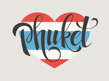 Phuket-Vektorbeschriftung Stockfotos