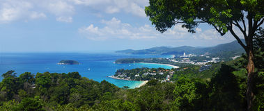 Phuket. Western coastline of Phuket island (beaches from closest: Kata Noi, Kata, Karon), Andaman sea, Thailand Stock Photos