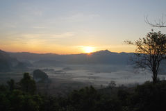 Phulangga. Sunrise with mist and mountauin view at Phulangga, Phrayoa Stock Photos