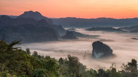Phulangka mountain with mist and sunrise in Payao Province, thai. Phulangka mountain with mist and sunrise in Phu Langka National Park in Payao Province Stock Photography