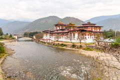 Phunakha Dzong. Palace of Great Happiness in Bhutan Royalty Free Stock Photo