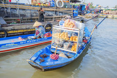Phung Hiep floating market at seven-ways crossroads (Nga Bay), Can Tho city, Tien Giang Stock Photos