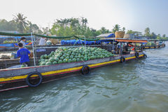 Phung Hiep floating market at seven-ways crossroads (Nga Bay), Can Tho city, Tien Giang Stock Photo